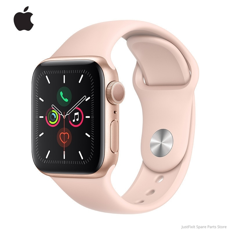 Review New Apple Watch Series 5 GPS 40MM/44MM Aluminum Case with White/Black/Pink Sand Sport Band Remote Heart Rate Smartwatch