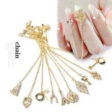 2 pièces goutte deau cristal balancent chaîne breloques ongles bijoux décorations 13 type luxe Zircon cristal strass pour ongles