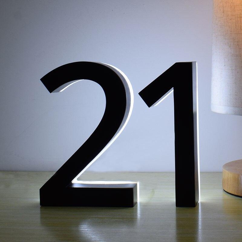 Luz Blanca Negra de Metal inoxidable 3D Led número de casa moderno al aire libre impermeable puerta del Hotel placa Lettre Sign