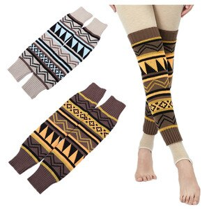 1 Pair Winter Over Knee Long Knit Cover Crochet Leg Warmers Legging Striped Calentadores Pierna Mujer Thigh Stulpe Legwarmers