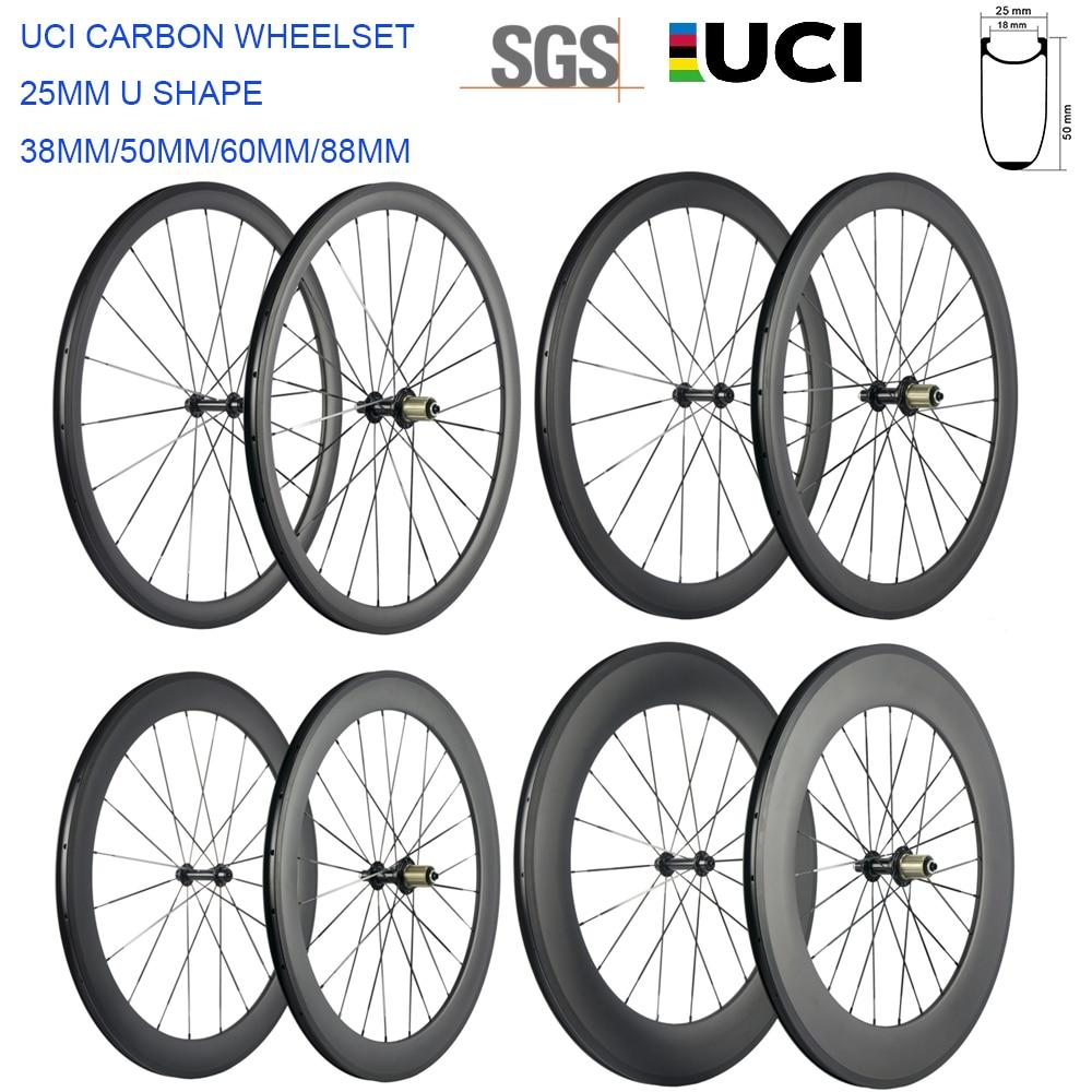 High TG 700C Carbon Wheels 38mm/50mm/60mm/88mm Road Carbon Wheelset Clincher 25mm U shape Cycle Bicycle Wheels Basalt Brake