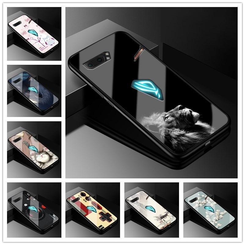 Para Asus ROG Phone II funda de vidrio templado de 6,59 cubierta trasera dura para Asus ROG Phone 2 fundas de teléfono ZS660KL Soft bumper Phone2