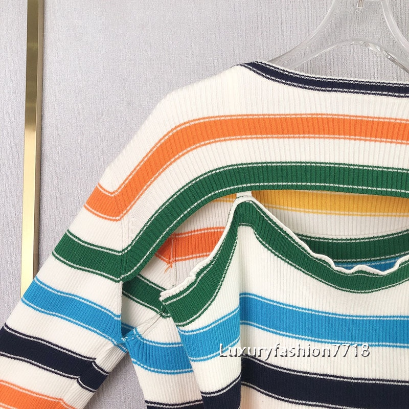 High end fashion 2021 Irregular design clothes for women Color striped long sleeve sweater vest short woman sexy knit pullovers enlarge