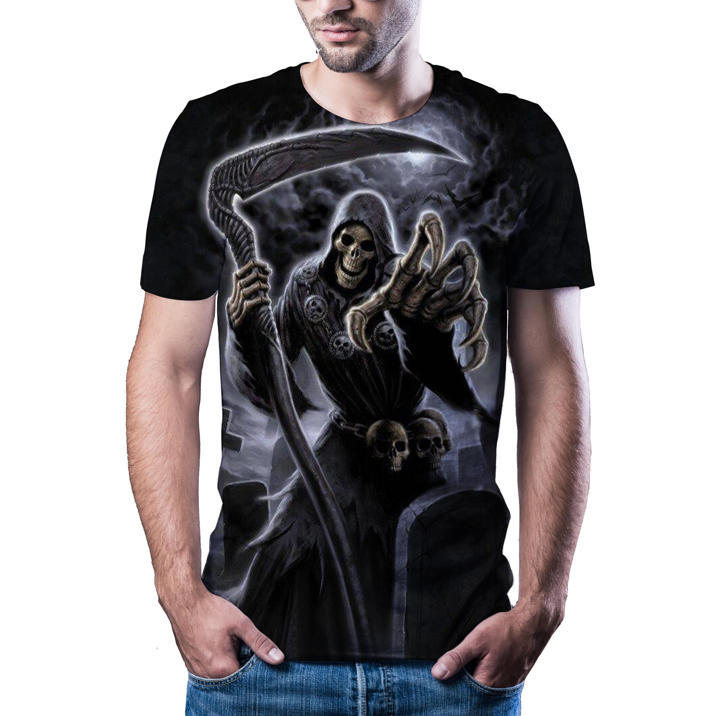 Camiseta con estampado 3D de calavera para hombre y mujer, ropa de...