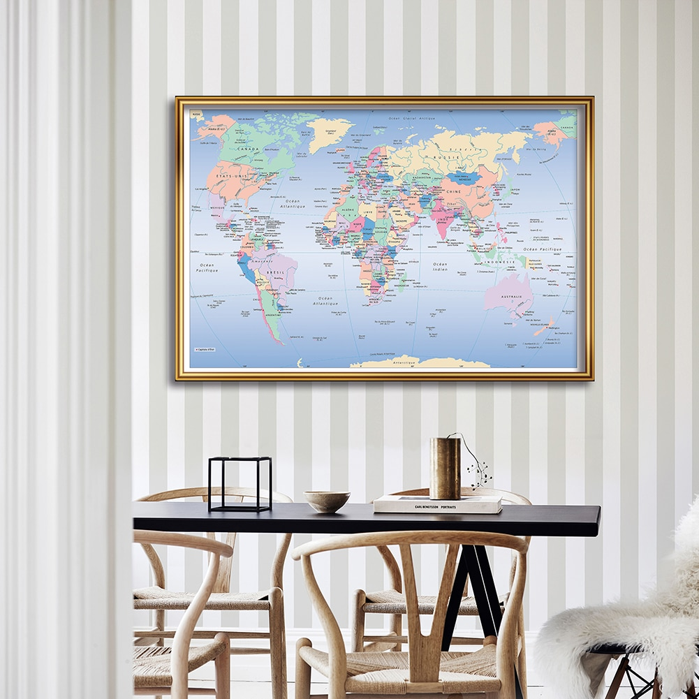 Political Map Of The World In French 150*100 cm Poster  Non-woven Canvas Painting School Supplies Living Room Home Decoration