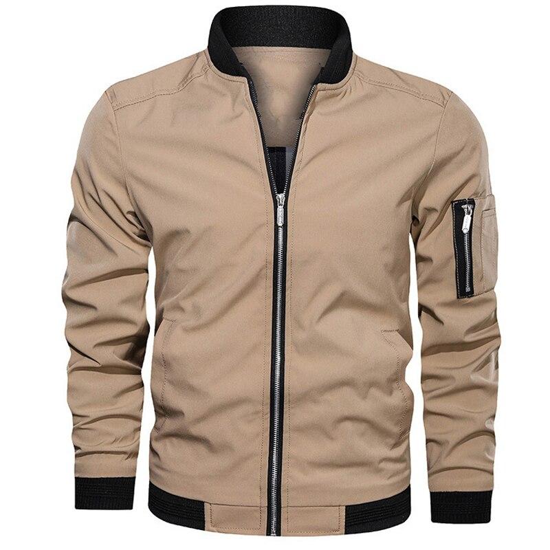 Куртка мужская демисезонная, Повседневная Уличная одежда, мужские куртки и пальто, мужская куртка-бомбер в простом британском стиле, мужско...