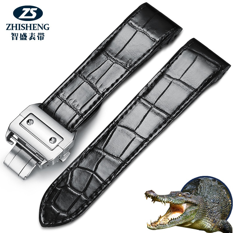 Handmade crocodile leather strap, men's and women's leather accessories, bracelet substitute substitute Santos 7-24 enlarge