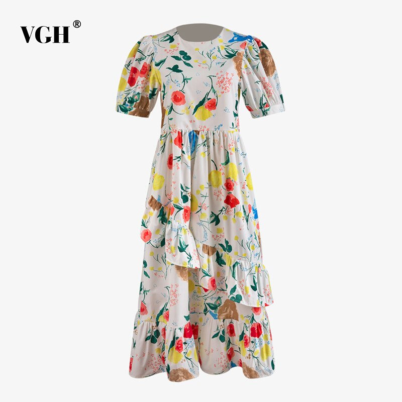 VGH Vintage Patchwork robe imprimée à volants pour les femmes O cou manches bouffantes taille haute Hit couleur robes élégantes mode féminine nouveau