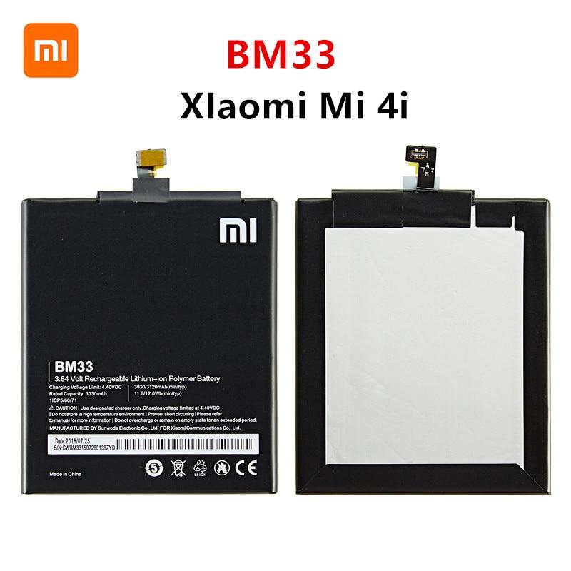 Xiao mi 100% Orginal BM33 3120mAh Battery For Xiaomi 4i Mi 4i Mi4i M4i BM33 High Quality Phone Replacement Batteries