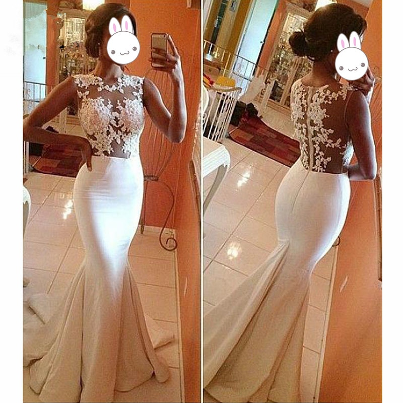 Illusion 2019 Mermaid Evening Dresses with Appliques Sleeveless O-Neck Zipper White Prom Dresses Pro