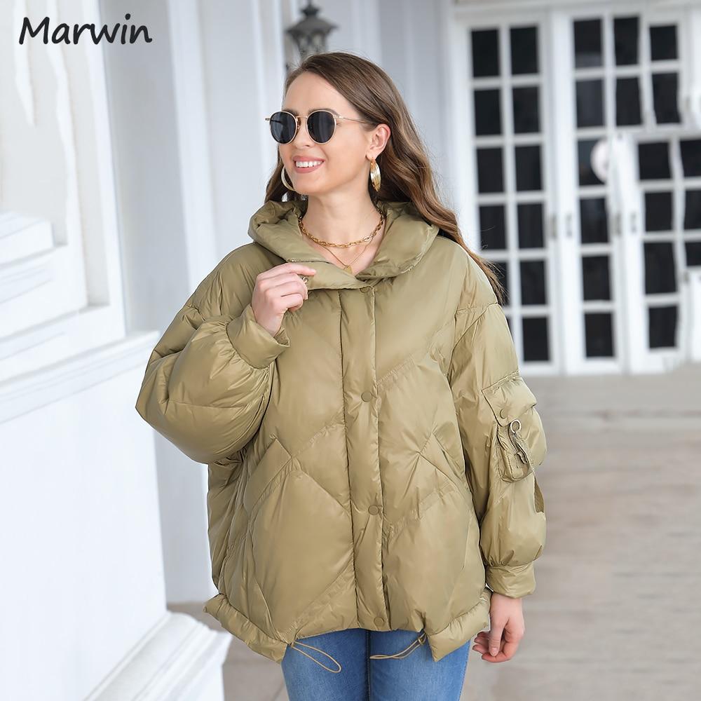 ماروين 2021 معطف عصري سترة المرأة القطن مبطن سميكة الصلبة هايت جودة الإناث جديد الشتاء أنيقة مقنعين معطف