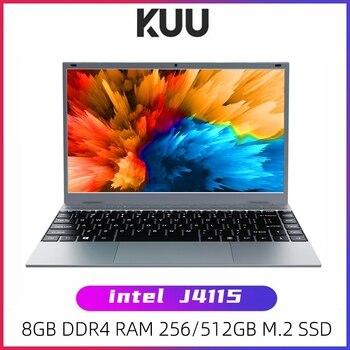 KUU – pc portable XBOOK, écran de 14.1 pouces, Windows 10, processeur Intel J4115 Quad core, 8 go de RAM DDR4, SSD de 128 go ou 256 go, clavier rétroéclairé, pour étudiants