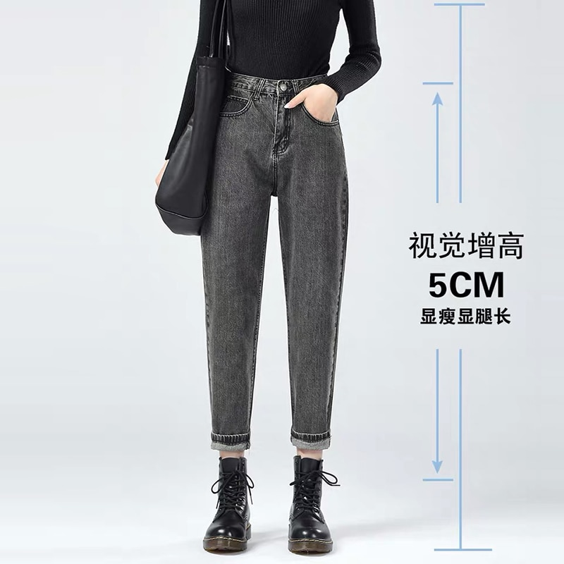 Заводская распродажа, корейские уличные джинсы, женские хлопковые джинсы с высокой талией, джинсы-бойфренды с прямыми штанинами на зиму и весну