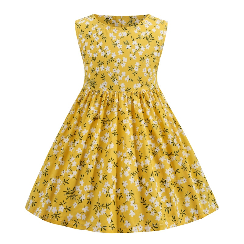 Dress Kids Clothes Baby Girls Casual Birthday Summer Flower Cute Princess Fairy Yellow Cotton Free Shipping Cottagecore Costume