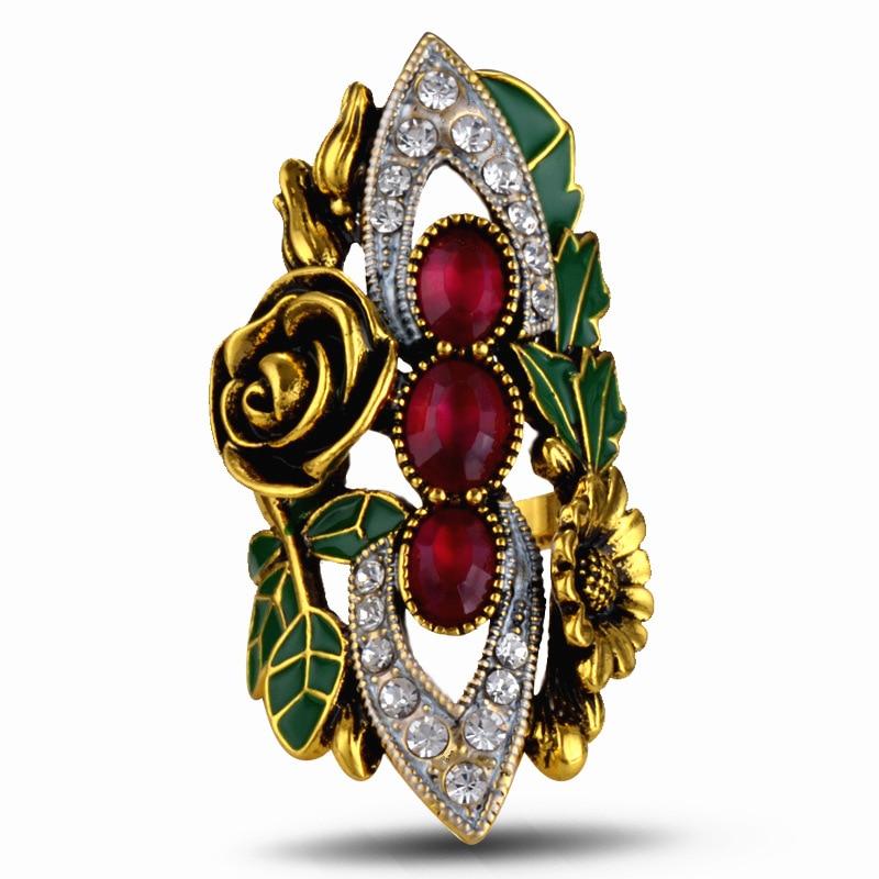 Lamour&ma Maxi Boho Enamel Leaves Rose Flower Rings for Women Luxurious Crystal Rings Statement Jewelry Bijuterias