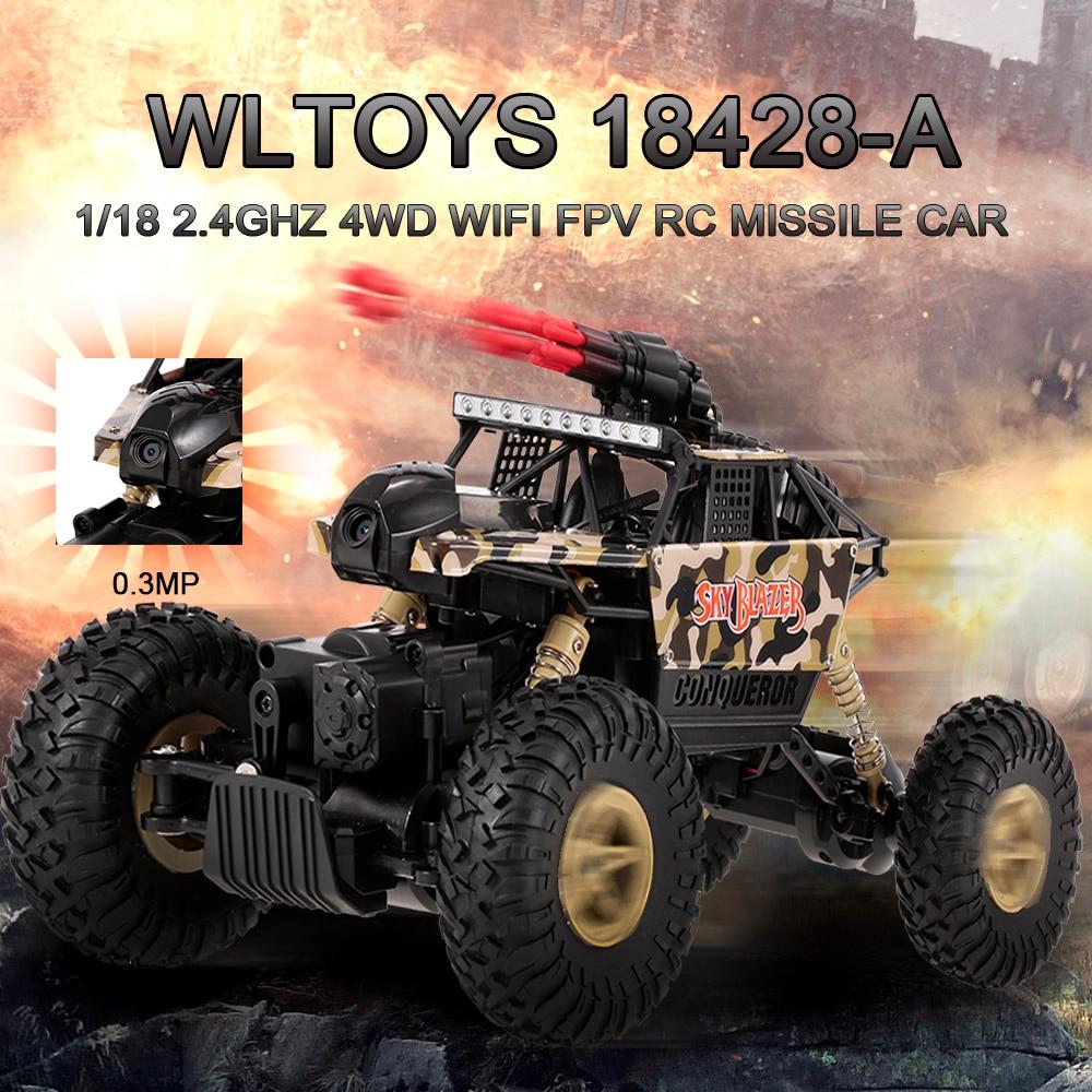 Coche de carreras monstruo de escalada eléctrico 118 4WD RC, coche de 2,4 Ghz con ruedas grandes y Control remoto, todoterreno, todoterreno, juego de misiles