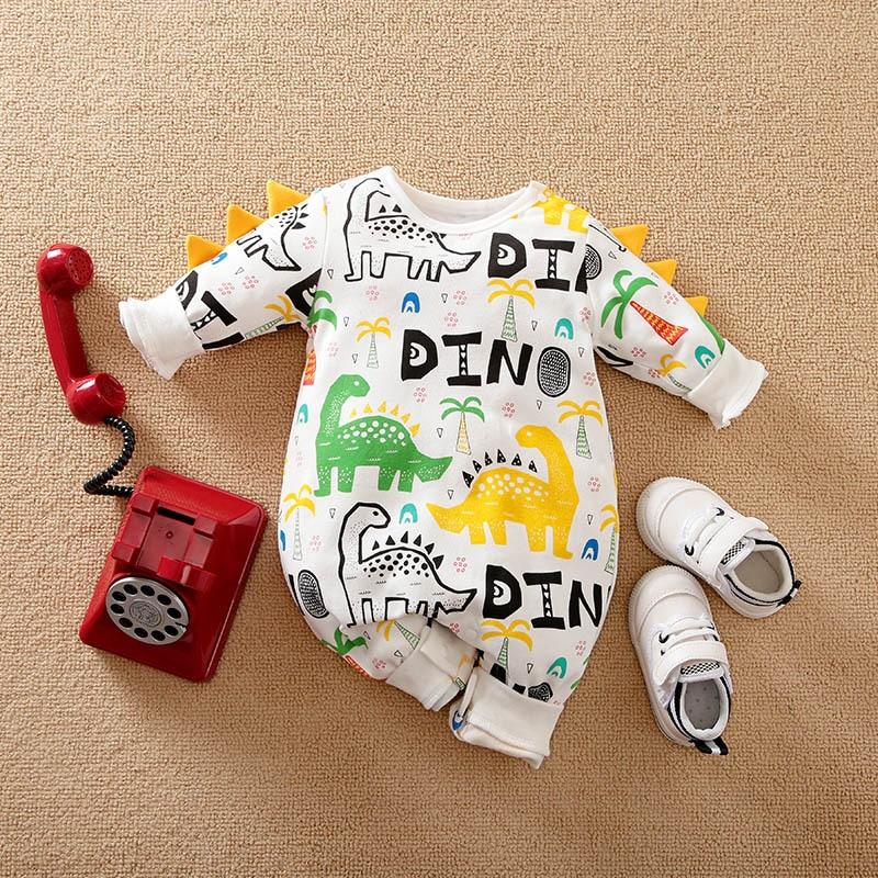 Dinosaur Print Newborn Baby Boy Clothes Spring Autumn Long Sleeve Baby Rompers Sleepwear Organic Inf