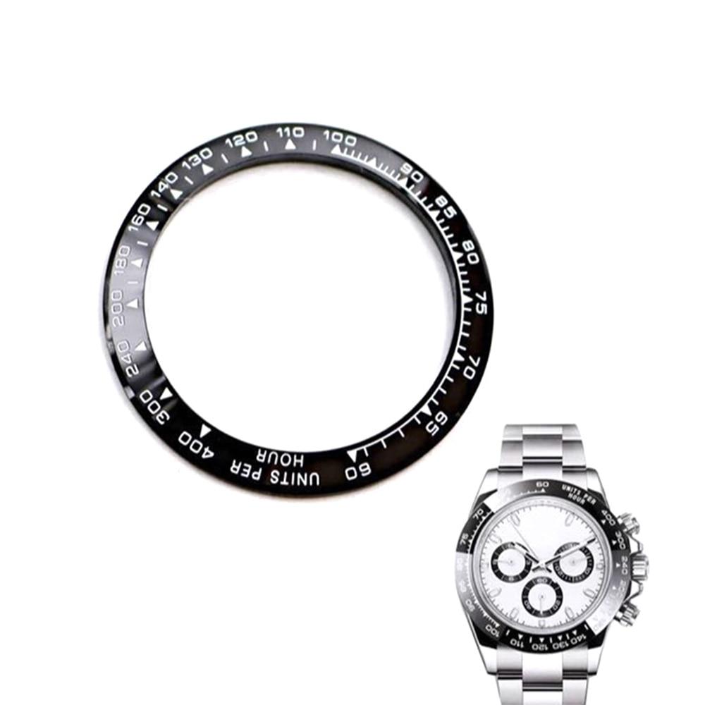 39.2mm céramique acier inoxydable montre visages pour Rolex Daytona diamètre intérieur 31.4mm Surface cadran hommes gradué montre lunette insérer