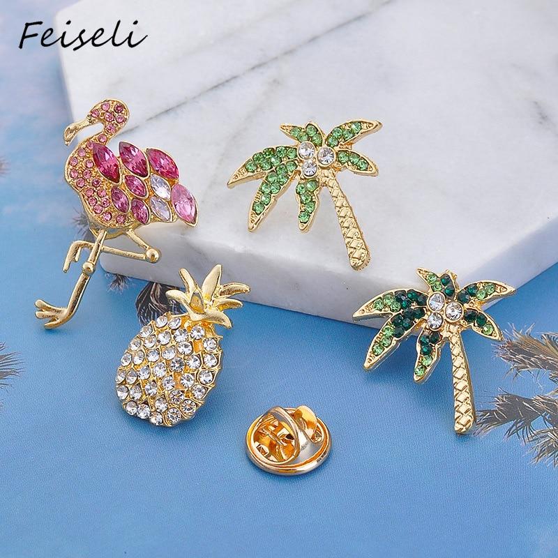 Broche de cristal de piña de aleación creativa Feiseli para mujeres árbol de coco Flamingo Animal insignia bolsa de mano decoración Adorno