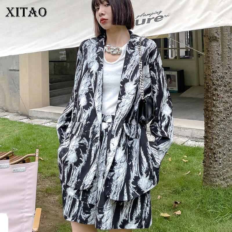 XITAO المرقعة طباعة نمط واحدة الصدر النساء مجموعة 2021 الخريف مزاجه الموضة غير رسمية كل مباراة ملابس حريمي WMD3075