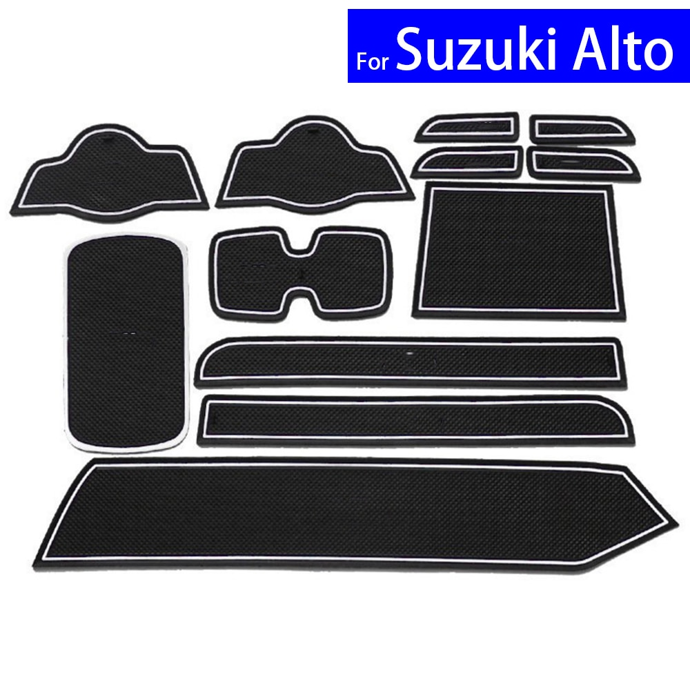 Car Door Gate Slot Mats Carpets Position Cup Holder Pads For Suzuki Alto 2009 2010 2011 2012 2013 2014 2015 Door Groove Mat