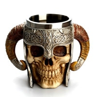 Double handle big horn cup 304 stainless steel mug resin skulls coffee cup