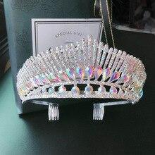 Barok lüks AB renk kristal tavuskuşu düğün tiara taç tarak ile Rhinestone Pageant Diadem başlığı gelin saç aksesuarları