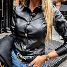 2020 Spring PU Shirt Women Solid Black Faux Leather Shirt  Blouse Vintage Button Tops Office Ladies Blusas Female Camiseta D40