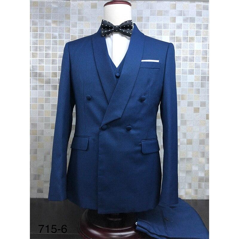 بدلة رجالي أزرق كحلي مزدوجة الصدر بمقاس ضيق بدلة رسمية لحفلات الزفاف والعشاء سترة + سترة + بنطلون أوروبا مقاس 46-56