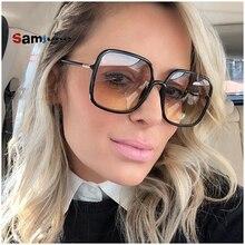 Samjune Square Big Sunglasses Women Shape Retro Woman Sun Glasses Lady Shades Clear Lens Eyewear Fas