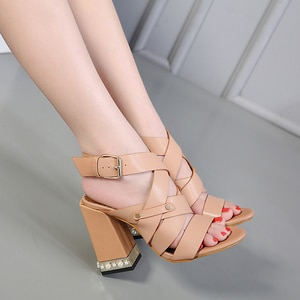 Thick Heel Sandals Shoes Roman Style High Heel Fish Mouth Women's Sandals Size 35-40