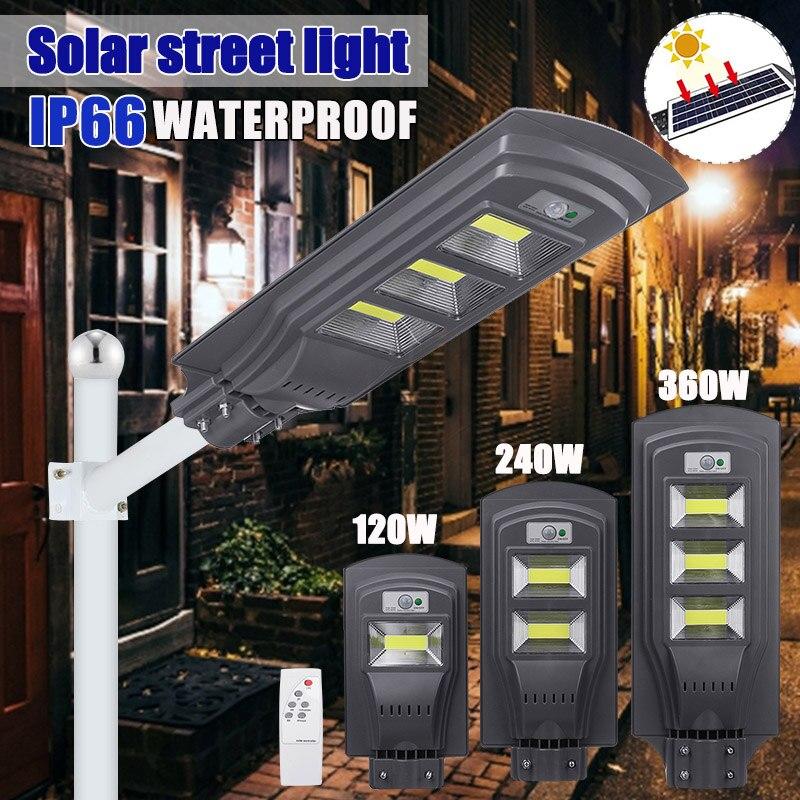 120w/240w/360w 300 cob ao ar livre iluminação 10000mah lâmpada de parede solar luz de rua pir radar movimento + controle de luz para jardim quintal