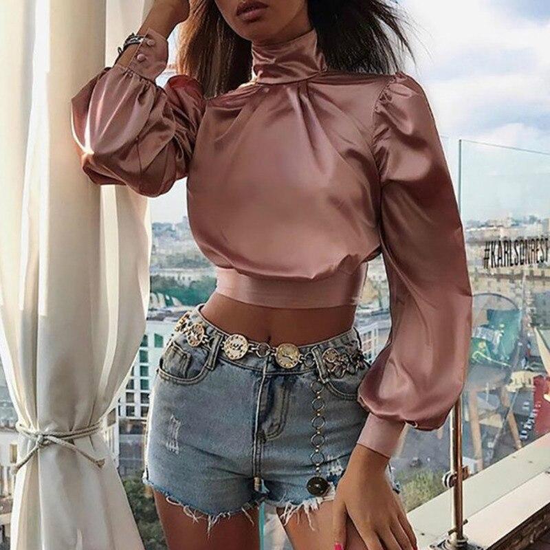 XUXI Women 2019 T-shirt Show Ribbon Bandage Long Sleeve T Shirt Ladies Neck Top Underwear Belly Umbilical Cord Clothes FZ781