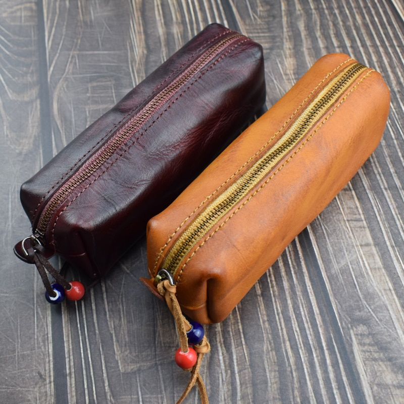 Handmade Genuine Leather Pencil Bag Vintage Retro Style Cowhide Zipper Pen Case School Bag Glasses Case Office School Supplies