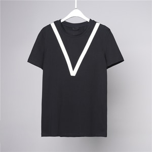 V-SHAPED webbing backband collision Color National Trend Xianyuanling Japanese casual Korean version of the dark short-sleeved t