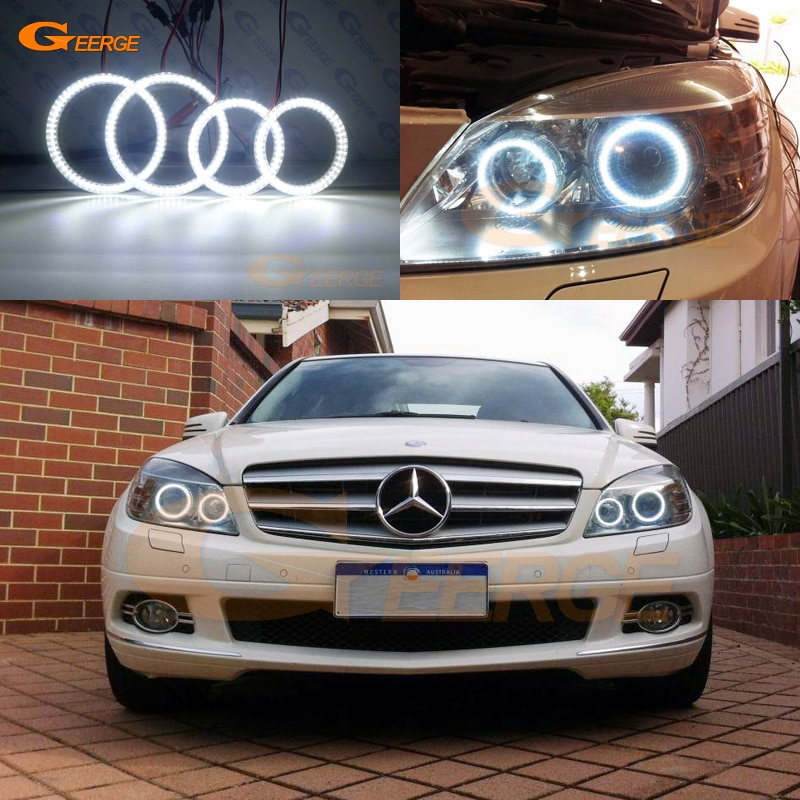 for mercedes benz c180 c200 c280 c300 c350 c63 amg projection lamp prevent rear collision warning light haze rain fog snow lamps For MERCEDES BENZ C Class W204 C280 C300 C350 C63 2007-2011 pre facelift Ultra bright smd led Angel Eyes halo rings Day Light