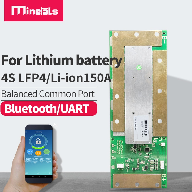 Minerals bms bluetooth 4s LiFePO4 Li-ion smart 150a Steamer Machine high-power Temperature protection li-ion battery pack BMS