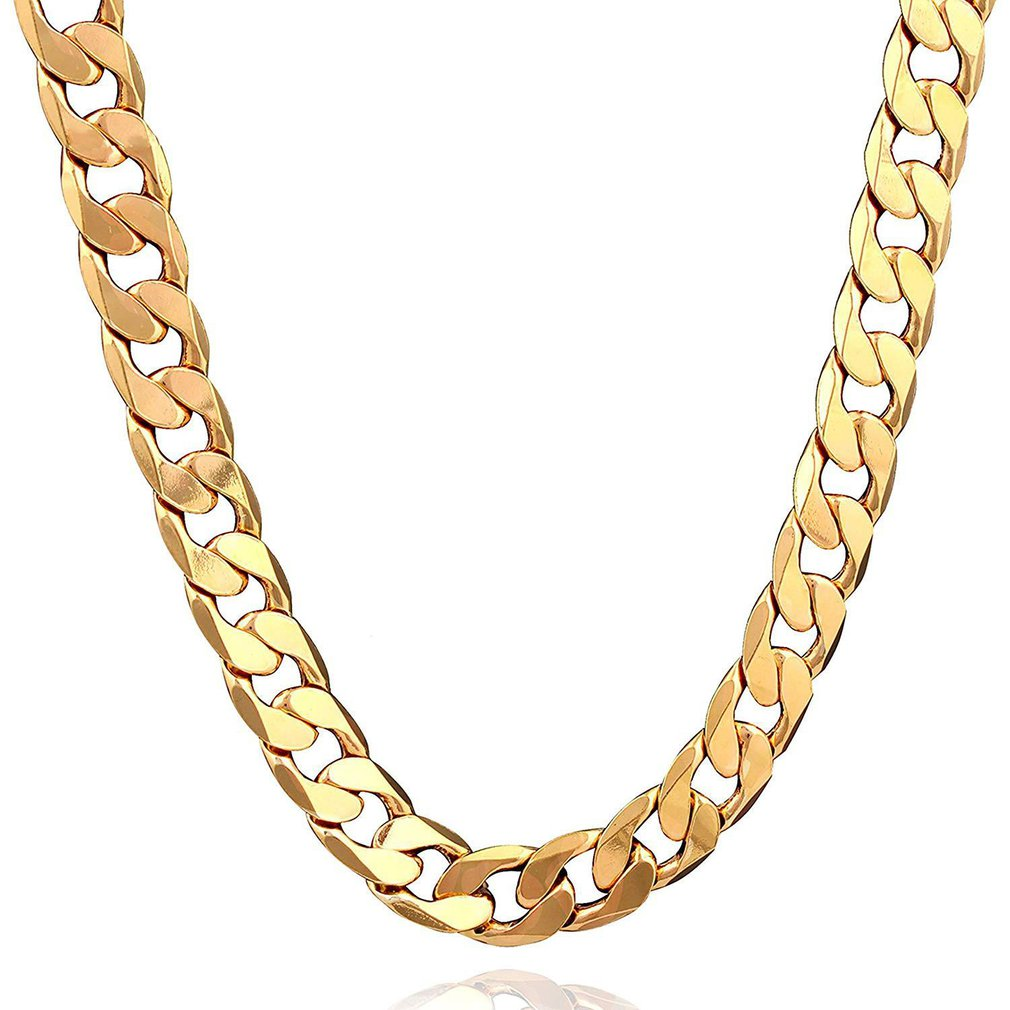 Punk Cuban Chain Gold Necklace Men 46/51/56/61/66/71/76CM Link Curb Chain 18K Long Necklace for Women Fashion Jewelry Charm Gift