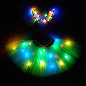 Light Up Girls Kids Clothes Shiny Star Tutu LED Skirt Princess Party Tutus Tulle Pettiskirt Children Ballet led tron Dance Wear
