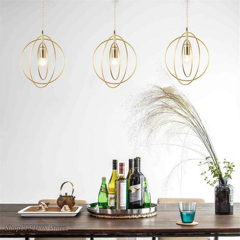 Anillos redondos de Metal nórdico, lámpara colgante moderna para sala de estar, Bar, lámpara colgante, comedor, dormitorio, decoración del hogar, accesorios de iluminación