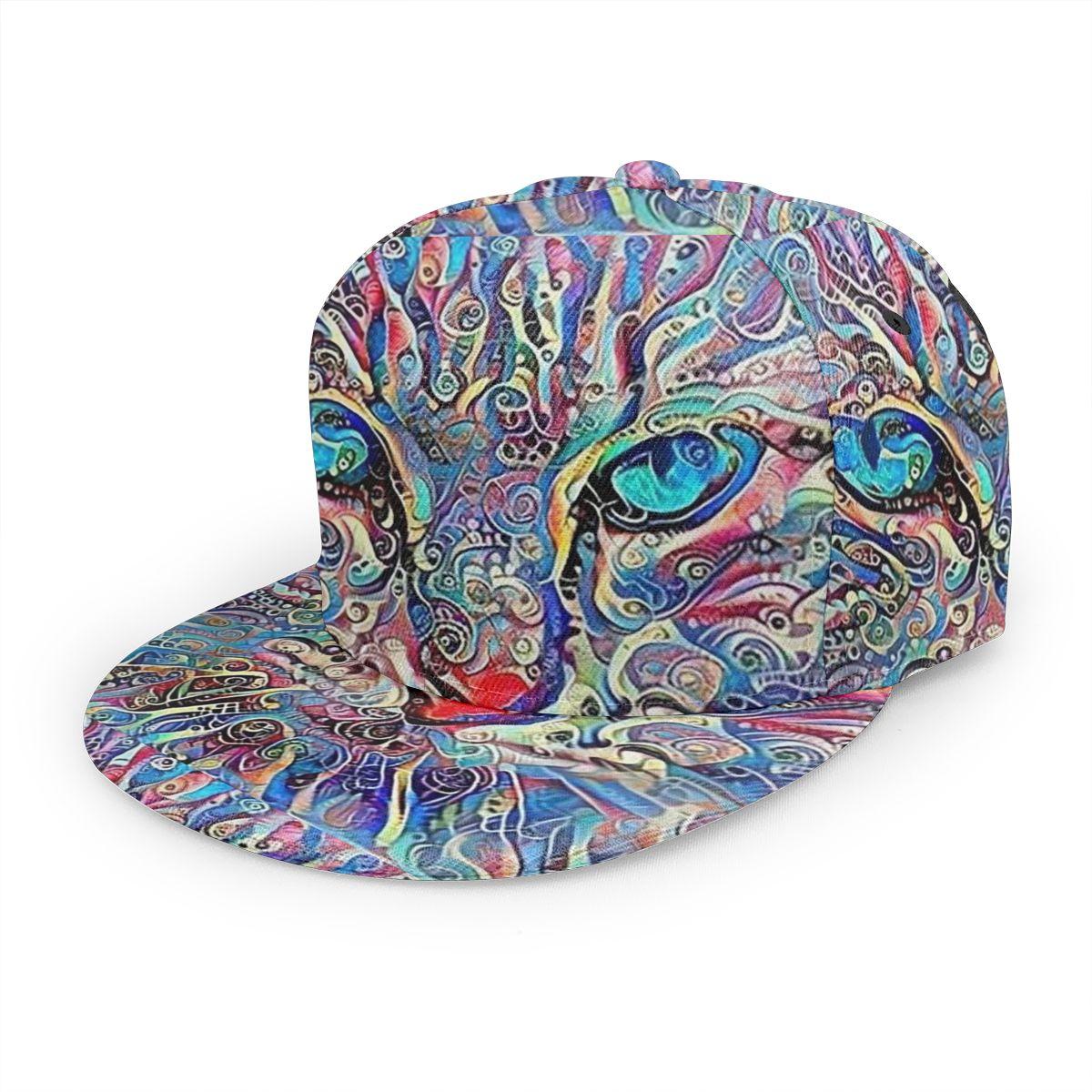 Psychedelic Violet Blue Cat Baseball Cap 3D Custom Print Snapback Adjustable Hip Hop Dad Hat Casual Team