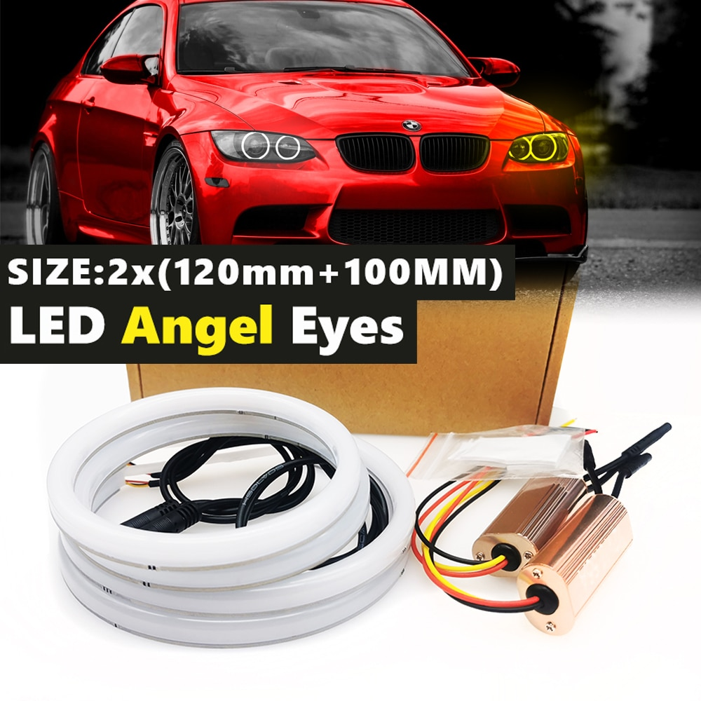 mayitr 2pcs set 2 120w 240w h8 angel eyes marker led chips light bulb 8000lm white lamp for bmw 1 3 5 series e82 coupe e90 e92 4Pcs Car-styling Dual color White Yellow LED Halo Rings Cotton Light For BMW E92 E90 E93 E90 E81 E82 E87 E88 Angel Eyes Lamps