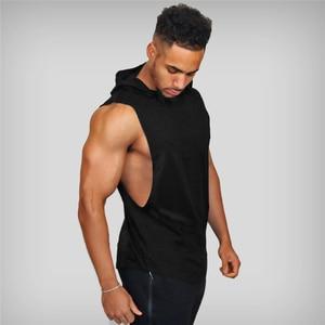 New fashion cotton sleeveless shirts gym hooded tank top men Fitness Vest Solid Bodybuilding singlets workout tanktop men