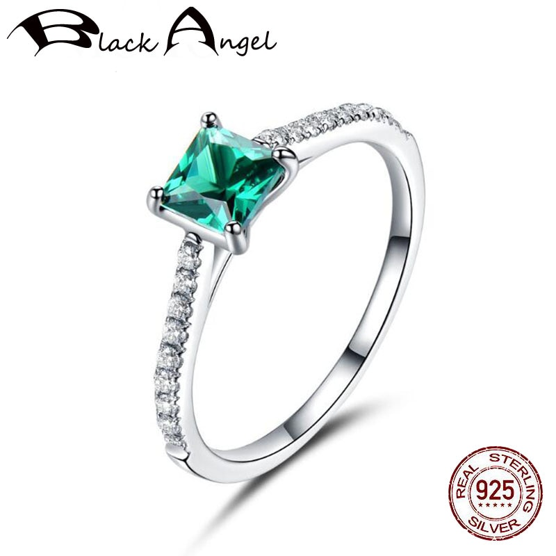 Небесно-голубой топаз, Изумрудный драгоценный камень, кольца для женщин, Настоящее серебро 925 пробы, модное кольцо с камнем на день рождения,...