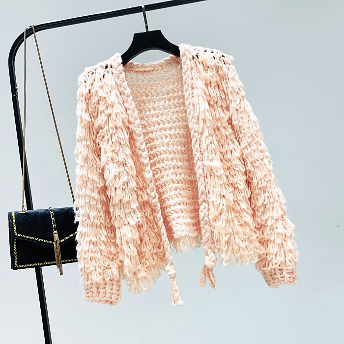 Lentejuelas pelo jersey de coreana-estilo suelto suéter tejido de lana niñas señoras abrigo corto Kardigan estudiante Streetwear Cardigan