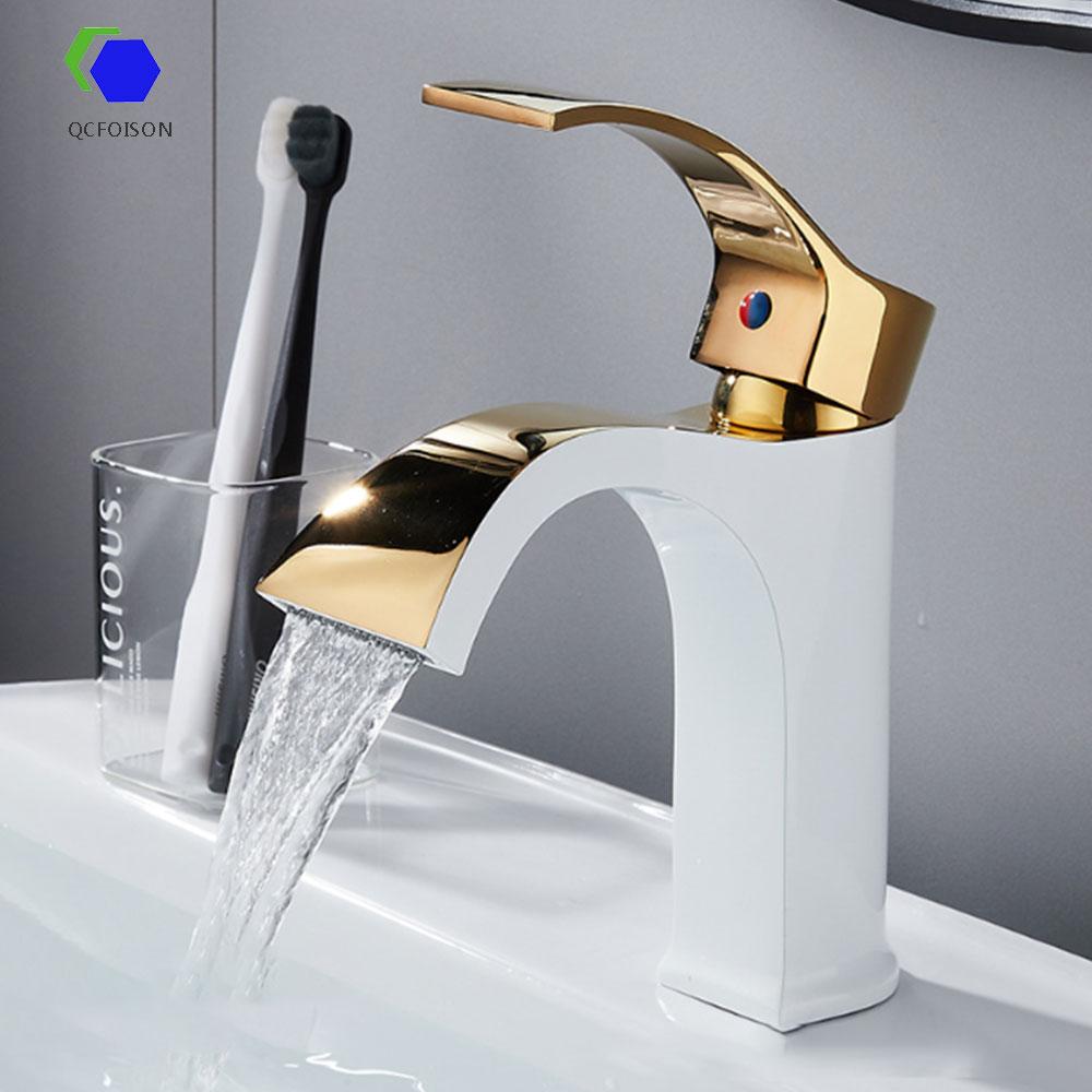 QCFOISON-صنبور حوض مغسلة للحمام ، صنبور مرحاض من الكروم مع صنبور نحاسي للحمام ، صنبور مياه مغسلة ، ذهب أبيض