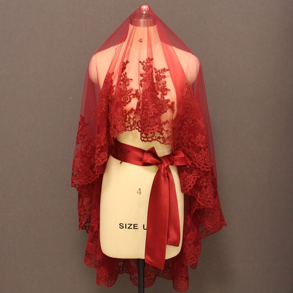 Duvak encaje granate velo de novia elegante suave tul corto Borgoña velos de novia tocados de boda