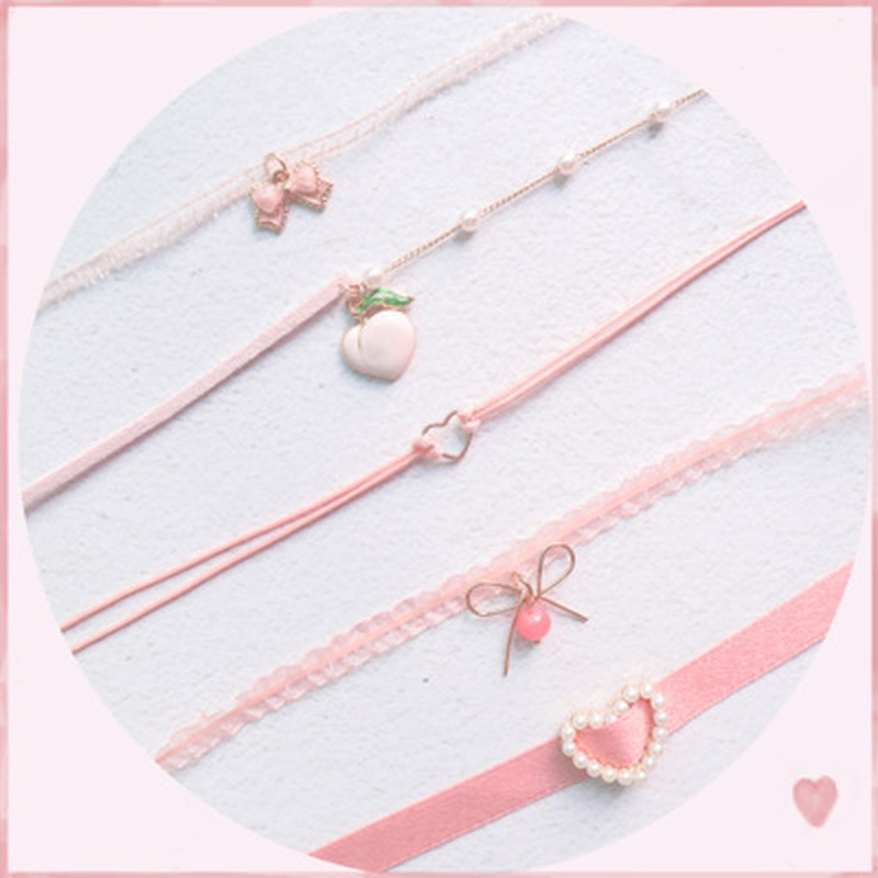 Collares de cadena Rosa colgante en forma de corazón de durazno gargantilla collares cortos collares de clavícula moda para niñas joyería estética bonita
