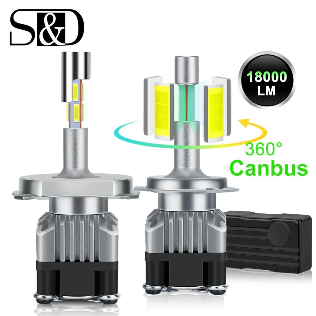18000LM 4 lados Canbus H7 faro LED H1 Turbo H4 9005 HB3 9006 HB4 LED H8 H11 bombilla 6500K lámpara 360 grados diodo Auto luz antiniebla