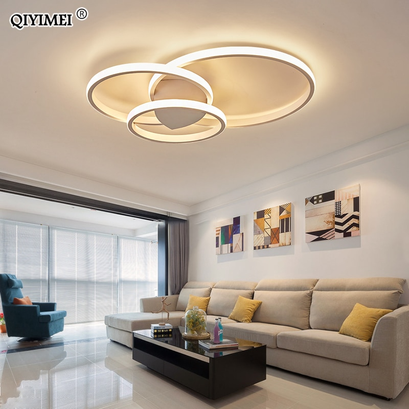 Modern Rings LED Chandeliers Lighting For Bedroom Living Room White Black Coffee Lights Fixture Lamps AC90-260V QIYAMEI
